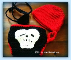 Crocheted Baby Pirate Outfit by KikkinKazKreations on Etsy, $35.00