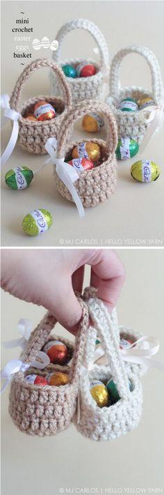 Mini Crochet Easter Eggs Basket #CrochetEaster