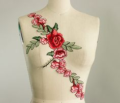 NEW ITEM Large Extra Long Red Rose Vine Iron On Patch