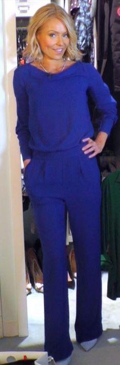 Who made Kelly Ripa's blue jumpsuit? Jumpsuit – Diane von Furstenberg