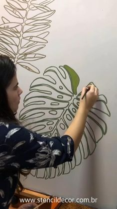 Creative Wall Painting, Wall Painting Decor, Mural Wall Art, Diy Wall Art, Diy Art, Wall Decor, Painting Murals On Walls, Painted Wall Murals, Simple Wall Paintings