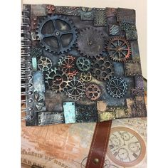 Steampunk Journal, Grunge notebook, Decorated Scrapbook, Photo Album,... (£22) via Polyvore featuring home, home decor, steampunk home decor, plain notebook, white notebook, paper notebook and white home decor