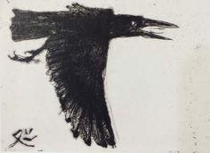 'Crow in Ueno Park' - etching 1992 - Matazo Kayama (1927-2004, Japan)