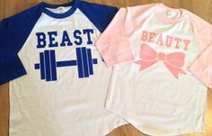 Beauty and The Beast 3/4 long Sleeve Baseball Couples T-Shirts come with matching his and her shirts. UNISEX: Men/Women Size Chart    CHEST from