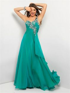 A-line One Shoulder With Appliques Long Chiffon Prom Dress PD1401 www.tidedresses.co.uk $192.0000