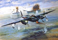 RAF Mosquito :: Airfix model kit art, Illustrated by Roy Cross