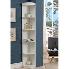 Furniture of America Maleena Corner Wood Bookcase in White Bookcase Styling, Bookcase Storage, Tall Cabinet Storage, Bookcase White, Modern Bookcase, Ikea Furniture, White Furniture, Furniture Outlet, Furniture Buyers