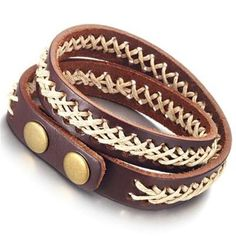Trendy Mens Jewelry Deep Brown Genuine Leather Bracelet Cuff -