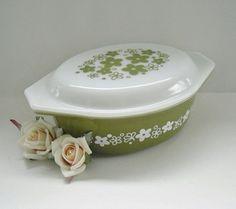 Pyrex Casserole - Crazy Daisy Pyrex -Spring Blossom Pyrex -Green Pyrex Bakeware. $12.00, via Etsy.