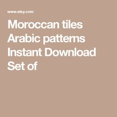 Moroccan tiles  Arabic patterns  Instant Download  Set of