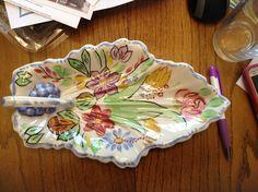 Blue Ridge Pottery celery tray in the Summertime pattern.