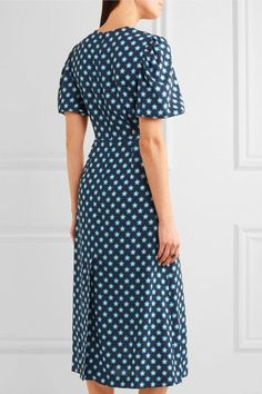 Miu Miu - Printed Crepe De Chine Midi Dress - Blue - IT48