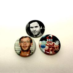 Serial Killers Ted BundyJeffrey Dalhmer John Wayne Gacy Pin Set Pinback Button Pin Badge x3 Satanic