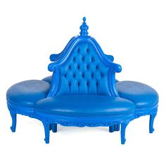 """Jasmine Tete A Tete on Rent for Special Events & Parties in NYC  Features:  1. blue painted frame 2. blue vinyl upholstery 3. Dimensions: 67 1/2""""diameter x 47""""H seat height 16 1/2"""""""