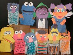 Sesame Street Puppets, Paper Bag Puppets, Sesame Street Party, Jim Henson, Preschool Art, American Artists, Birthday Parties, Crafts For Kids, Creative Ideas