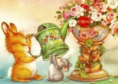 Good afternoon sister and yours, enjoy it 😁☕🌷🌹❤ Spanish Artists, Happy Animals, Illustrations And Posters, Whimsical Art, Pretty Pictures, Cute Art, Graphic Illustration, Illustrators, Rabbits