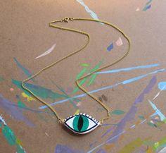 Third Eye Necklace -- Evil Eye Polymer Clay Charm Necklace. $12.00, via Etsy.