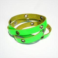 Bracciale Studs Neon Fluo Green  Bracciale da indossare a più giri (pelle) Multiloop bracelet (leather)