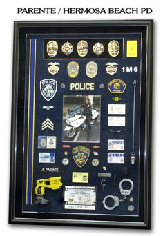 """See our webite section """"Police Shadowboxes"""" for more examples! Police Retirement Party, Retirement Ideas, Retirement Parties, Retirement Gifts, Police Gear, Police Gifts, Police Wife Life, Fire Badge, Diy Shadow Box"""