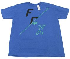 Fox Mens Heather Blue Tee Shirt with Logo Short Sleeve T-shirt #FoxRacing #GraphicTee