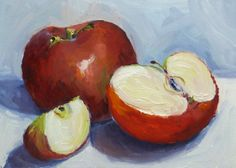 Small Still Life Oil Painting Red Apples by RenderedImpressions