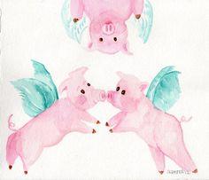 original  Flying Pigs  painting  FLYING PIG ART от SharonFosterArt