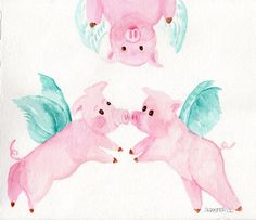 original  Flying Pigs  painting  FLYING PIG ART by SharonFosterArt, $25.00
