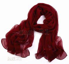 Women Fashion Girls Long Soft Warm Red Chiffon Scarf Wrap Shawl Scarves