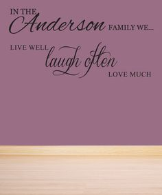 Love this 'Live Well Laugh Often Love Much' Personalized Decal Set on #zulily! #zulilyfinds
