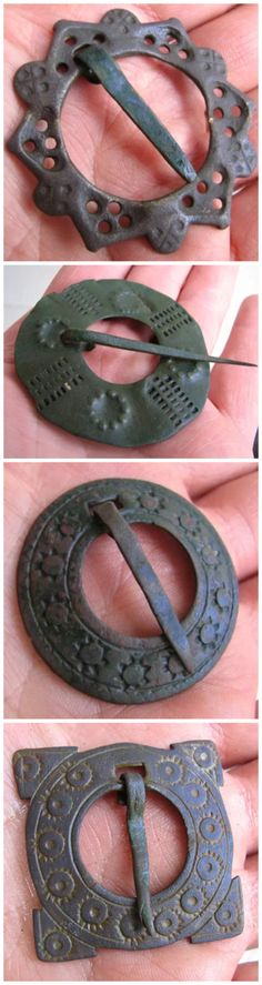 Ancient Viking bronze brooches.