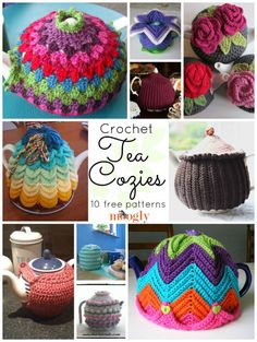 Knit or Crochet tea cozy! / From Cute to Retro - 10 Free Crochet Tea Cozy Patterns. Stitch Crochet, Crochet Cozy, Love Crochet, Crochet Crafts, Crochet Projects, Crochet Tea Cosies, Crochet Geek, Crochet Potholders, Crochet Round