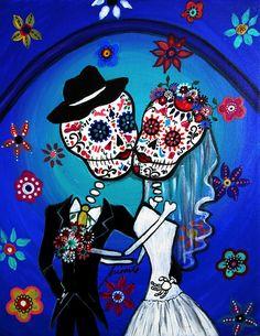 DIA De Los Muertos Art   Dia De Los Muertos Kiss The Bride Painting
