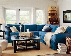 Best Cindy Crawford Home Beachside Blue Denim Sofa Denim Sofa 400 x 300
