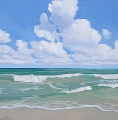 """Gazing Out to Sea by Brenda Cablayan Acrylic ~ 30"""" x 30"""""""