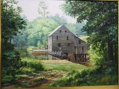 Yates Mill, historic Raleigh area grist mill painting, now on display at Ashley's, print on canvas are available
