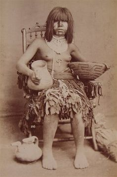 1870's Native American Yuma Quechan Indian Cabinet Card Photo by Bonine