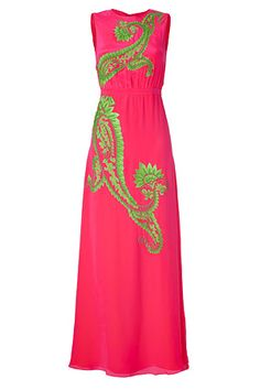 Neon Pink/Lime Green Embroidered Silk Dress