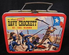"Davy Crockett Lunch Box  (Vintage 1955 Walt Disney Official Lunchbox & Thermos, ""At The Alamo"", ""Indian Fighter"", Antique Metal Lunch Kit)"