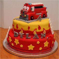 Brandweerwagen taart cake