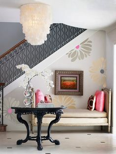 Giant Flower Wall Decals  Transforamation Project Using Wall - Wall decals entryway