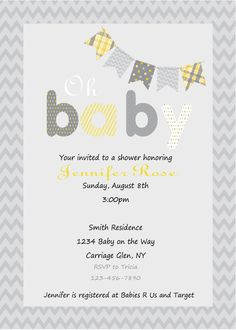 Yellow and Gray Baby Shower Invitation- Print Your Own