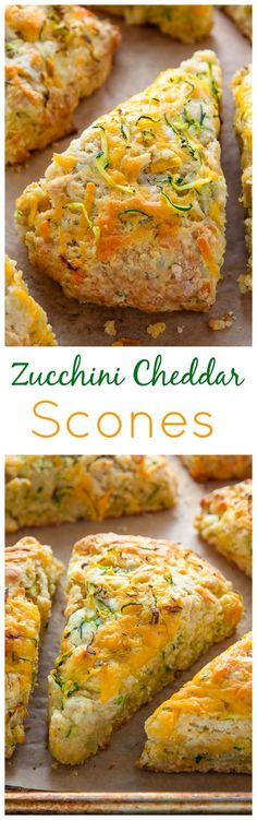 My favorite savory scone recipe loaded with sharp cheddar cheese and fresh zucchini! Who knew veggies could taste this good! My favorite savory scone recipe loaded with sharp cheddar cheese and fresh zucchini! Who knew veggies could taste this good! Savory Scones, Healthy Scones, Cheese Scones, Yummy Food, Tasty, Snacks Für Party, Breakfast Recipes, Scone Recipes, Zucchini Breakfast