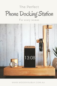This is a handcrafted wooden phone docking station or charging station designed for women.This organising station has the following features:- watch stand- phone charging slot- jewelry stand- two rings slot.All of these are designed to display a collection of the woman's precious pieces of jewellery as well as her everyday accessoriesWith this ladies' docking station, you got everything you need every morning when you go to office/work. Or simply, just have a special place beside your…
