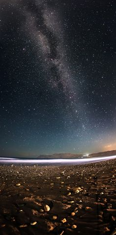 Milky way seen from the beach on Crete. It's a 3 shoot vertical panorama taken…