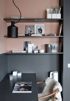 home paint ideas pink and gray color block home office  Primerose - Ralph Laren Paint Off-Black - Farrow & Ball