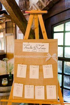 DIY Sitzplan / Tischplan bei der Hochzeit / Hochzeitsfeier im Vintage-Stil auf einer Staffelei. Foto: Stephan Presser