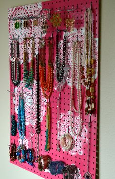 Jewelry Organizer Wall Display,  Jewelry Holder, Custom, Hand Painted. $88.00, via Etsy. https://www.etsy.com/listing/127333925/jewelry-organizer-wall-display-jewelry?ref=shop_home_active