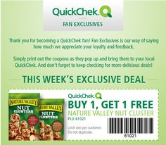 FACEBOOK COUPON $$ BOGO FREE Nature Valley Nut Cluster from QuickChek!