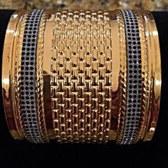 Add some fun to match your new outfit! 6 colors! Large cuff in gold tone - costume jewelry with black sparkles and etched center! Jewelry Bracelets