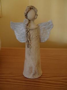 Andělinka - Angel in a natural style, partly glazed, approximately 22 cm tall. Ceramics Projects, Clay Projects, Clay Angel, Pottery Angels, Willow Tree Figurines, Kids Clay, Handmade Angels, Ceramic Angels, Hand Built Pottery